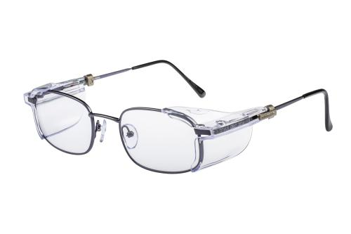 Side view FC707 gun metal coloured prescription safety glasses.