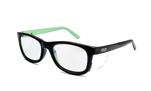 Matador Harley Black/Green prescription safety glasses.